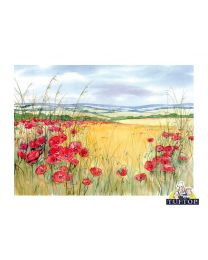 Tuftop Glass Chopping Board in Poppies Design