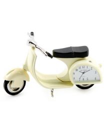 Light Cream Vespa Scooter Miniature Mini, Novelty Clock