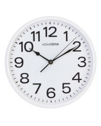 HOMETIME 10'' White Wall Clock, Silent Sweep No Ticking