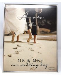 Amore Silverplated Thin Frame 8'' x 10'' Our Mr + Mrs Wedding Day
