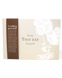 Beautiful Soft Beige Fabric Covered Wedding Guest Book 80 Pages Keepsake
