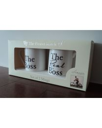Amore The Boss and The Real Boss Pair of China Mugs Gift Set