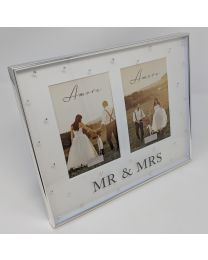 Amore Silverplated Box Photo Frame Double 4x6'' Mr + Mrs