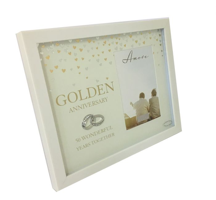 Intertwined Rings 50th Golden Wedding Anniversary Photo Frame