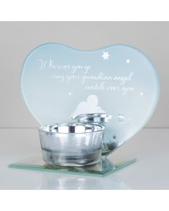 Guardian Angel Memorial Glass Heart Tealight Candle Holder