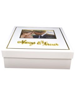 White Wedding Day Keepsake Box with 3D Gold Always & Forever Letters