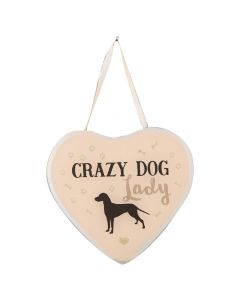Crazy Dog Lady Glass Wall Hanging Heart Plaque