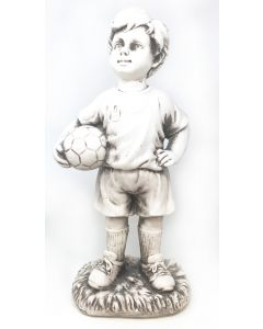 Standing Frankie Boy with Football Garden Statue, White Resin Patio Ornament 49cm