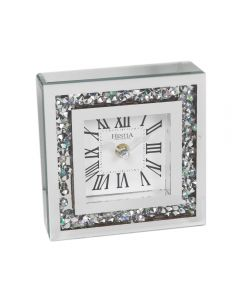 Freestanding Iridescent Crystal Mirror Border Square Mantel Clock