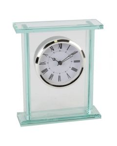 Contemporary Solid Glass Silver Bezel Mantel Clock with Roman Numerals