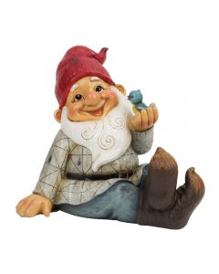 Reclining Happy Garden Gnome with Blue Bird Ornament