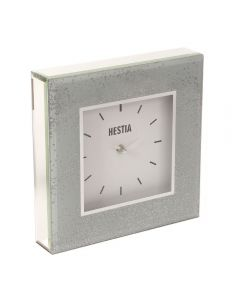 Glass Grey Mirror Silver Glitter Square Free Standing Mantel Clock