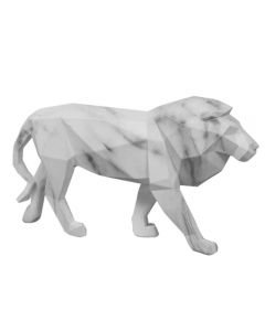 white marble effect lion ornament