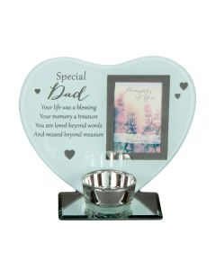 Glass Heart Shaped Special Dad T Light Holder Remembrance Photo Gift