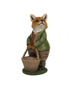 Garden Fox Figurine Holding A Wicker Basket Gift Ornament
